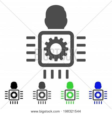 Cyborg Processor flat vector illustration. Colored cyborg processor, gray, black, blue, green icon versions. Flat icon style for web design.