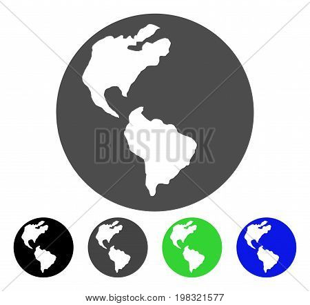 Earth flat vector icon. Colored earth, gray, black, blue, green icon variants. Flat icon style for graphic design.