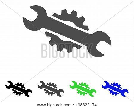 Service Wrench flat vector icon. Colored service wrench, gray, black, blue, green pictogram variants. Flat icon style for graphic design.
