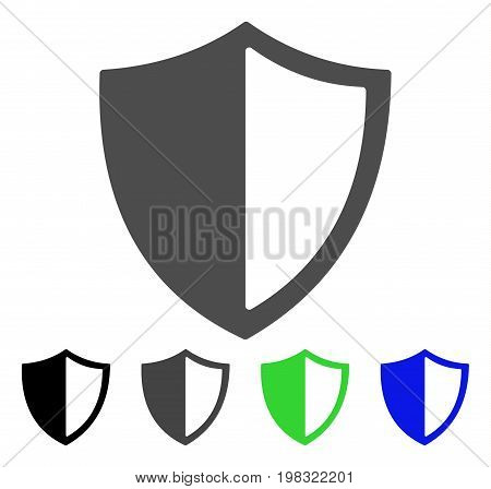 Shield flat vector pictogram. Colored shield, gray, black, blue, green icon versions. Flat icon style for web design.