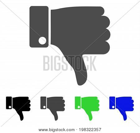 Thumb Down flat vector illustration. Colored thumb down, gray, black, blue, green pictogram variants. Flat icon style for graphic design.
