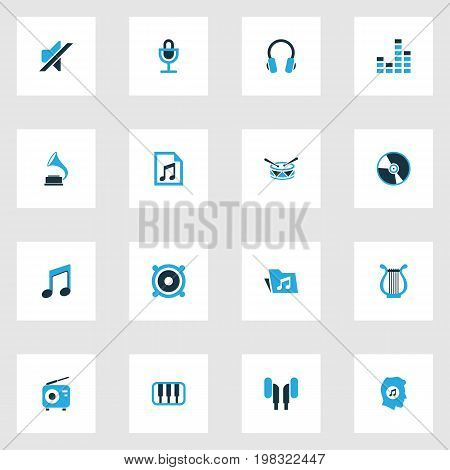 Audio Colorful Icons Set. Collection Of Mute, Note, Microphone And Other Elements