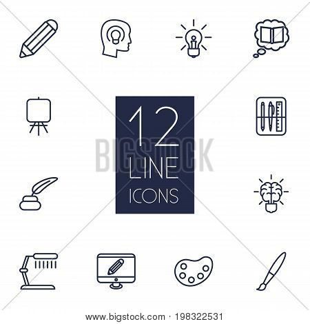 Collection Of Pencil, Monitor, Table Lamp And Other Elements.  Set Of 12 Constructive Outline Icons Set.
