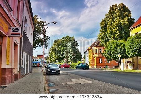 Lovosice, Czech Republic - July 05, 2017: Black Car Opel Astra H In Dlouha Street With Old Houses An