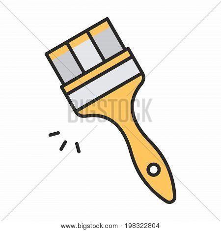 Paint brush line icon on white background. Vector illustration.