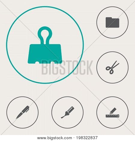 Collection Of Highlighter, Paper  Clamp, Ink And Other Elements.  Set Of 6 Instruments Icons Set.