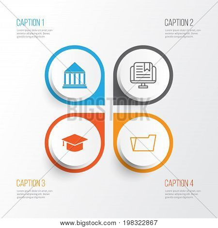 Education Icons Set. Collection Of E-Study, Graduation, Education Center And Other Elements