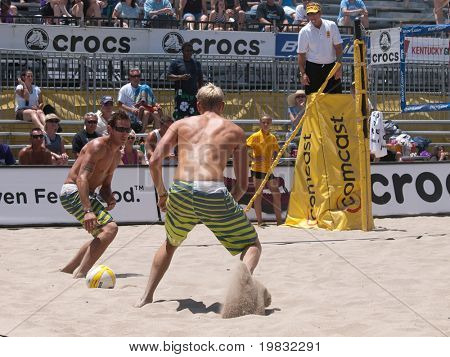 HUNTINGTON BEACH, CA. - MAY 23: AVP Huntington Beach Open, Ty Loomis and Casey Patterson at the Huntington Beach Open on May 23rd 2009