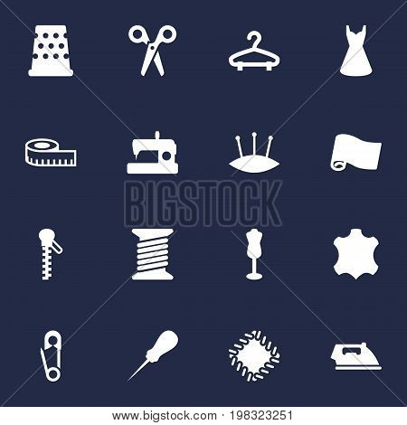 Collection Of Bodkin, Pintle, Mannequin And Other Elements.  Set Of 16 Tailor Icons Set.