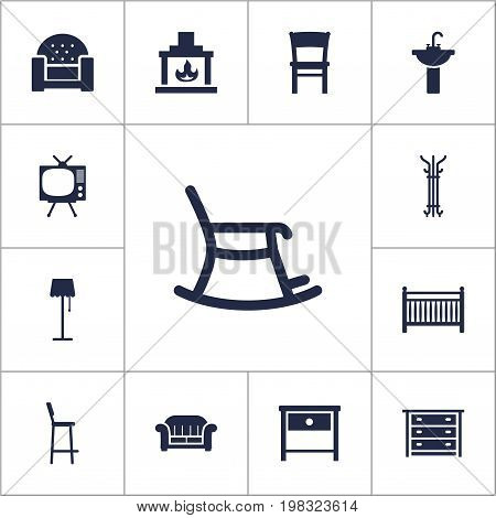 Collection Of Cot, Chair, Rocking Furniture And Other Elements.  Set Of 13 Set Icons Set.
