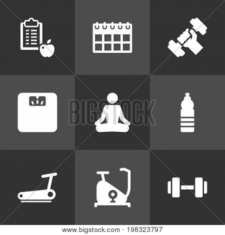 Collection Of Date, Barbell, Bodybuilding And Other Elements.  Set Of 9 Training Icons Set.