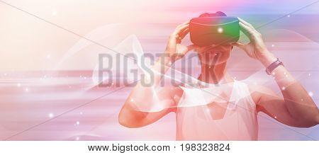 Woman wearing virtual reality simulator glasses against red abstract background