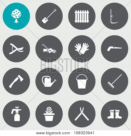 Collection Of Flowerpot, Spray Bootle, Rubber Boots And Other Elements.  Set Of 16 Horticulture Icons Set.
