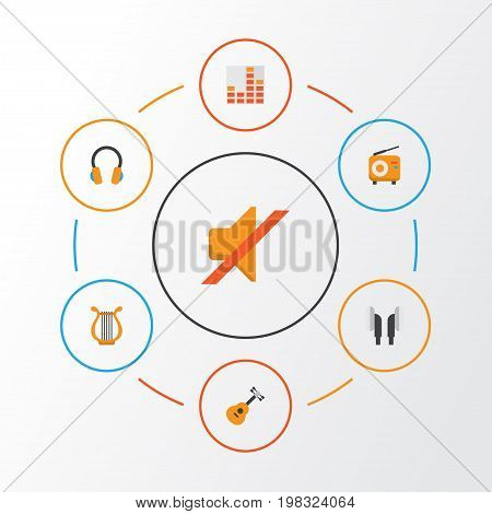 Music Flat Icons Set. Collection Of Broadcasting, Quiet, Ear Muffs And Other Elements