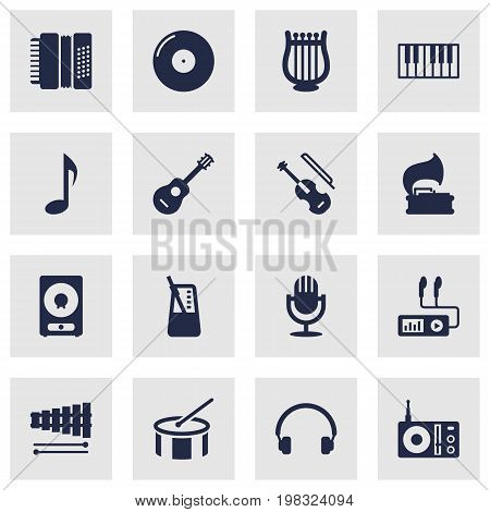 Collection Of Percussion, Karaoke, Turntable And Other Elements.  Set Of 16 Music Icons Set.