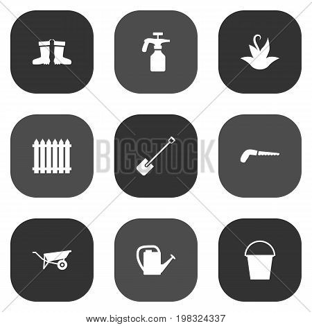 Collection Of Hacksaw, Spray Bootle, Wheelbarrow And Other Elements.  Set Of 9 Farm Icons Set.