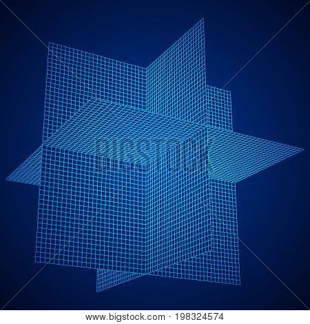 Wireframe Mesh Plane Axis. Three dimensions. Connection Structure. Digital Data Visualization Concept. Vector Illustration.