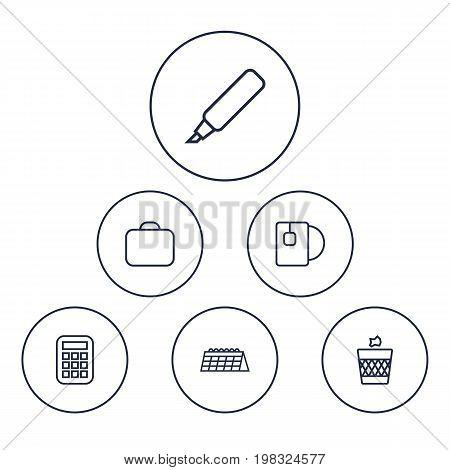 Collection Of Calendar, Tea, Marker And Other Elements.  Set Of 6 Bureau Outline Icons Set.