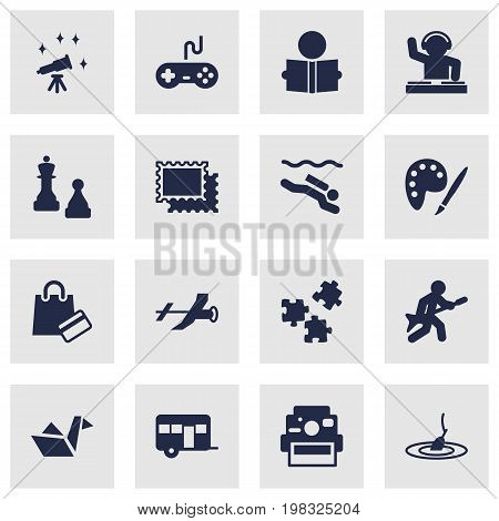 Collection Of Jigsaw, Photo Camera, Playing And Other Elements.  Set Of 16 Entertainment Icons Set.