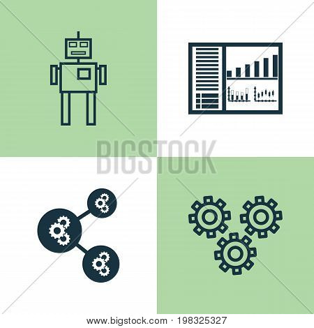 Learning Icons Set. Collection Of Controlling Board, Cyborg, Algorithm Illustration And Other Elements
