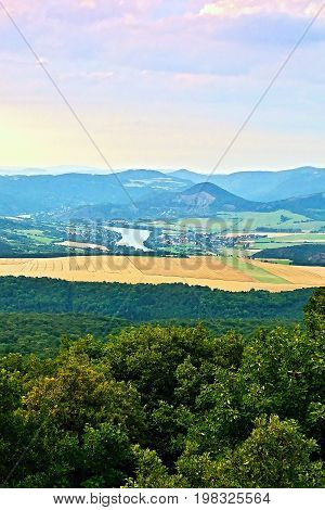Lovos, Czech Republic - July 05, 2017:view From Lovos Hill To Labe Valley With Libochovice Village A