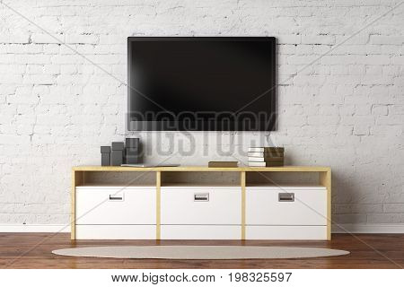 TV set with empty screen in living room interior with white brick wall wooden floor and rug. Show concept. Mock up 3D Rendering