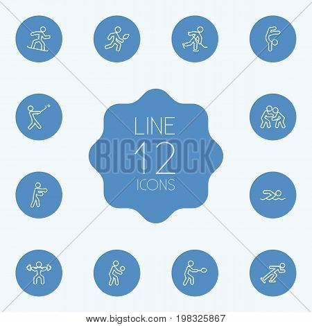 Collection Of Player, Diving, Puck And Other Elements.  Set Of 12 Sport Outline Icons Set.