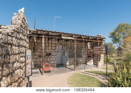 GROOTFONTEIN NAMIBIA - JUNE 20 2017: The reception office at the Hoba meteorite near Grootfontein in Namibia at 60 ton the largest known meteorite on earth
