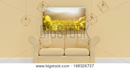 3d illustration of yellow sofa with cushions against greenness field of grapevine