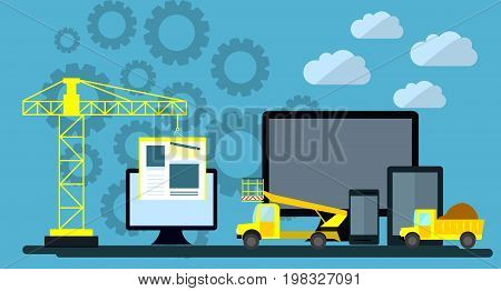 Flat design of website under construction web page building process site form layout of Web Development. Vector Illustration