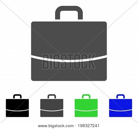 Briefcase flat vector icon. Colored briefcase, gray, black, blue, green icon variants. Flat icon style for graphic design.