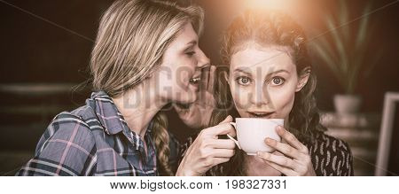 Young woman whispering secret into female friend ear at cafe