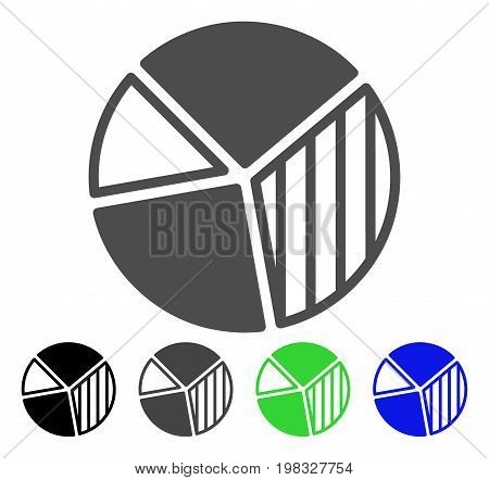 Pie Chart flat vector illustration. Colored pie chart, gray, black, blue, green pictogram versions. Flat icon style for application design.