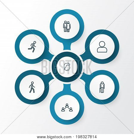 Human Outline Icons Set. Collection Of Jogging, Graybeard, Social Relations And Other Elements
