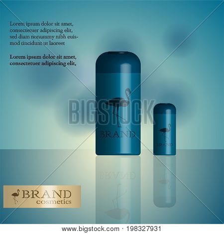 Brand. Cosmetic product in 2 sizes with flamingo logo and text. Blue shades.