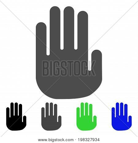 Stop Hand flat vector pictograph. Colored stop hand, gray, black, blue, green pictogram variants. Flat icon style for web design.
