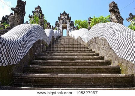 Pura Lempuyang, Bali, Indonesia - July 2017: The stairway to the Temple entrance