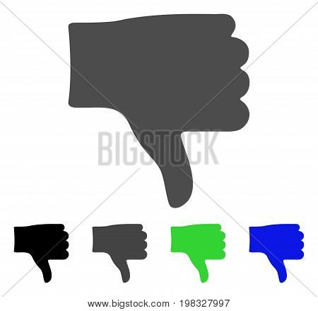 Thumb Down flat vector pictograph. Colored thumb down, gray, black, blue, green pictogram versions. Flat icon style for graphic design.