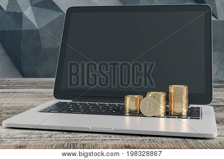 Bitcoin piles placed on laptop keyboard with empty screen placed on wooden desktop. Abstract polygonal wall in the background. Online payment concept. Mock up 3D Rendering