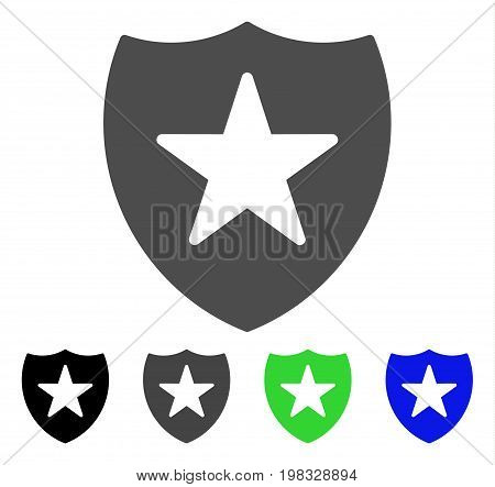 Guard Shield flat vector pictogram. Colored guard shield, gray, black, blue, green icon variants. Flat icon style for web design.