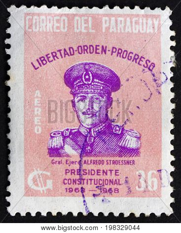 PARAGUAY - CIRCA 1980: a stamp printed in Paraguay shows Alfredo Stroessner President of Paraguay from 1954 to 1989 circa 1980