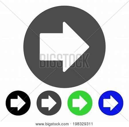 Right Arrow flat vector icon. Colored right arrow, gray, black, blue, green icon variants. Flat icon style for application design.