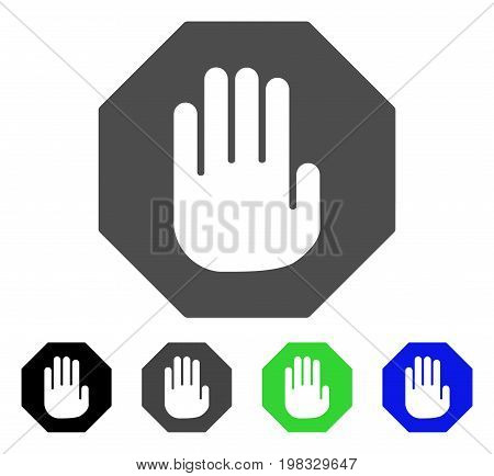 Terminate flat vector pictogram. Colored terminate, gray, black, blue, green pictogram versions. Flat icon style for web design.