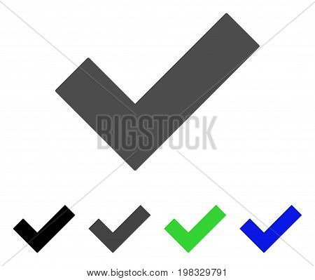 Yes Tick flat vector illustration. Colored yes tick, gray, black, blue, green icon versions. Flat icon style for application design.