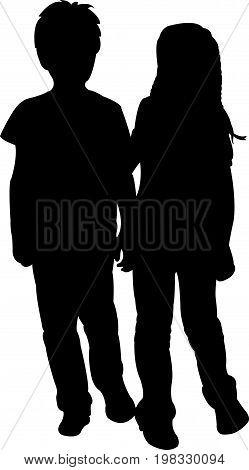 two friends body, black color silhouette vector