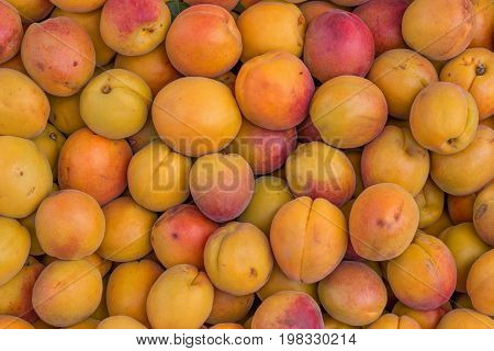 Farmers Market Organic Apricots In A Wooden Crates, Background