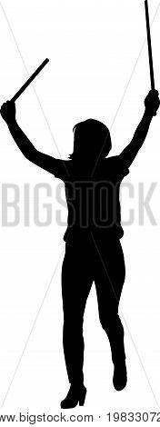 a woman walking, black color silhouette vector