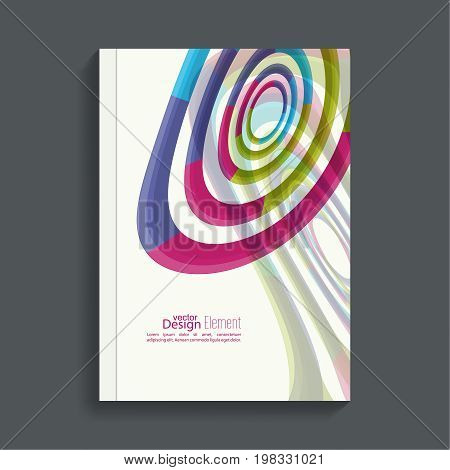 Magazine Cover with colored geometric shapes. For book, brochure, flyer, poster, booklet, leaflet, postcard, flier headline annual report  journal vector a4