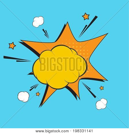 Blank template speech bubble, empty comic boom explosion. Vector illustration with halftone dot, star burst funny dialog balloon. Pop art style. Color comics book.