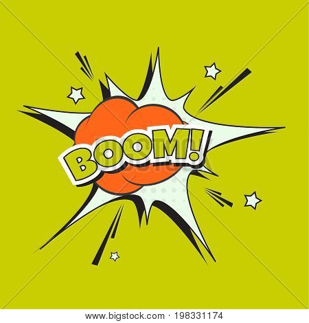 Lettering Boom, bomb explosion. Vector illustration with halftone dot, star burst funny dialog balloon. Pop art style. Color comics book text sound effects.